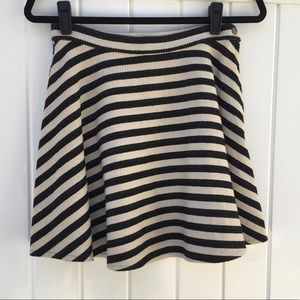 Black and Beige Small Striped A-line Skirt